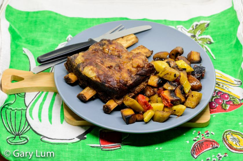 Slow cooker beef short ribs with pan-fried mushroom, eggplant, zucchini and strawberry jam.