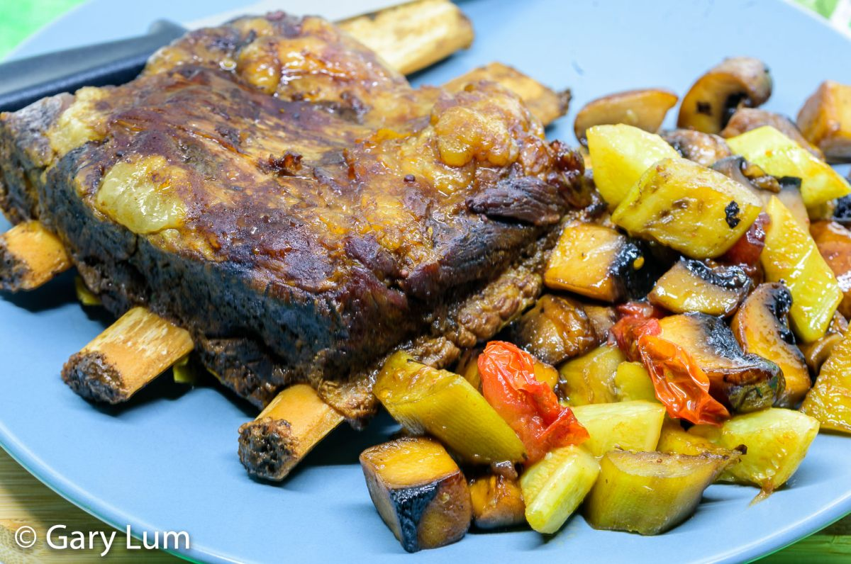Slow cooker beef short ribs with pan-fried mushroom, eggplant, zucchini and strawberry jam