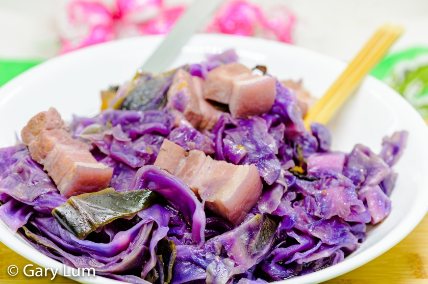 Pressure cooker pork belly and red cabbage with hoisin and black bean sauces.