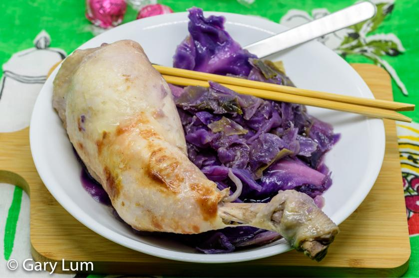 Pressure cooker chicken thigh and red cabbage with hoisin and black bean sauces.
