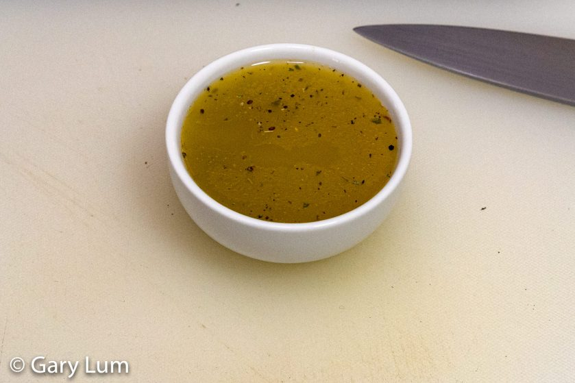 Garlic and herb butter just after mixing.