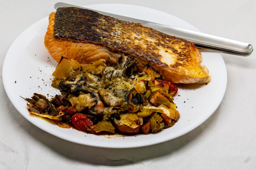 Pan-fried crispy skin salmon and balsamic vegetables