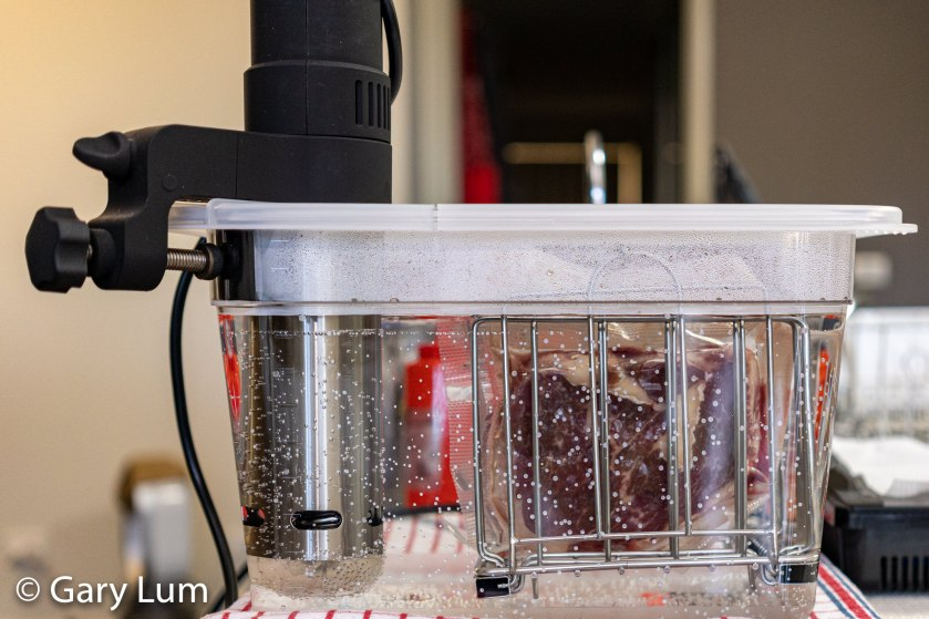 Angus beef scotch fillet in a stand for sous vide
