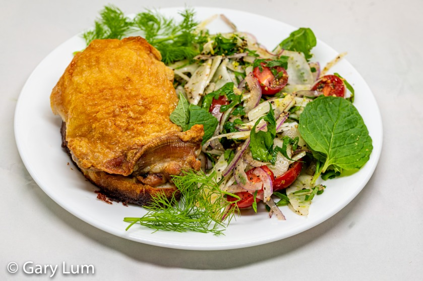 Oven-cooked deboned chicken thigh on bread with fennel salad and NQN's Thai dressing