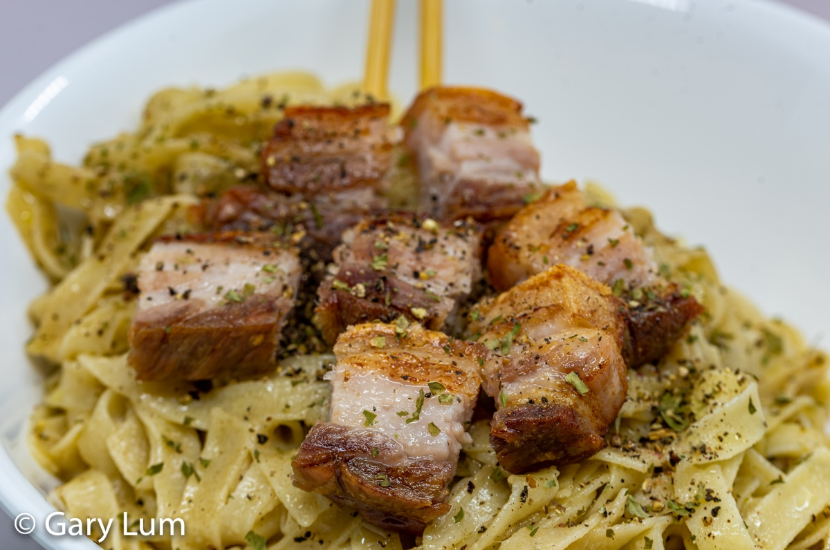 Iron-clad pork belly and Otis Dining Hall truffle noodles Cacio ePepe