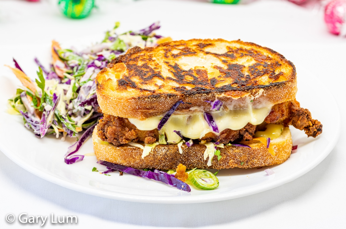 Coles southern fried chicken and homemade coleslaw grilled cheese sandwich
