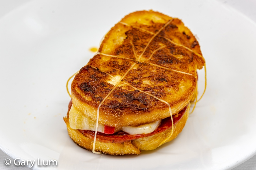 Provolone piccante, salami and pepperoni grilled cheese toastie