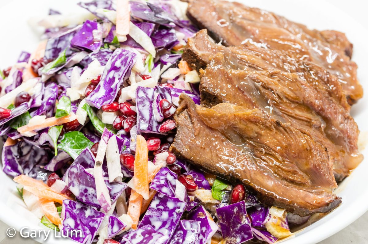Slow cooker beef cheeks and red cabbage coleslaw
