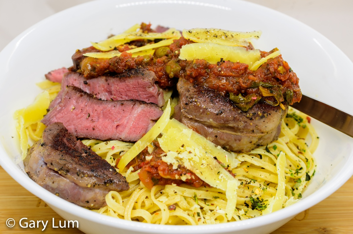 Steak pizzaiola with fresh linguine and sous vide eye fillet steak
