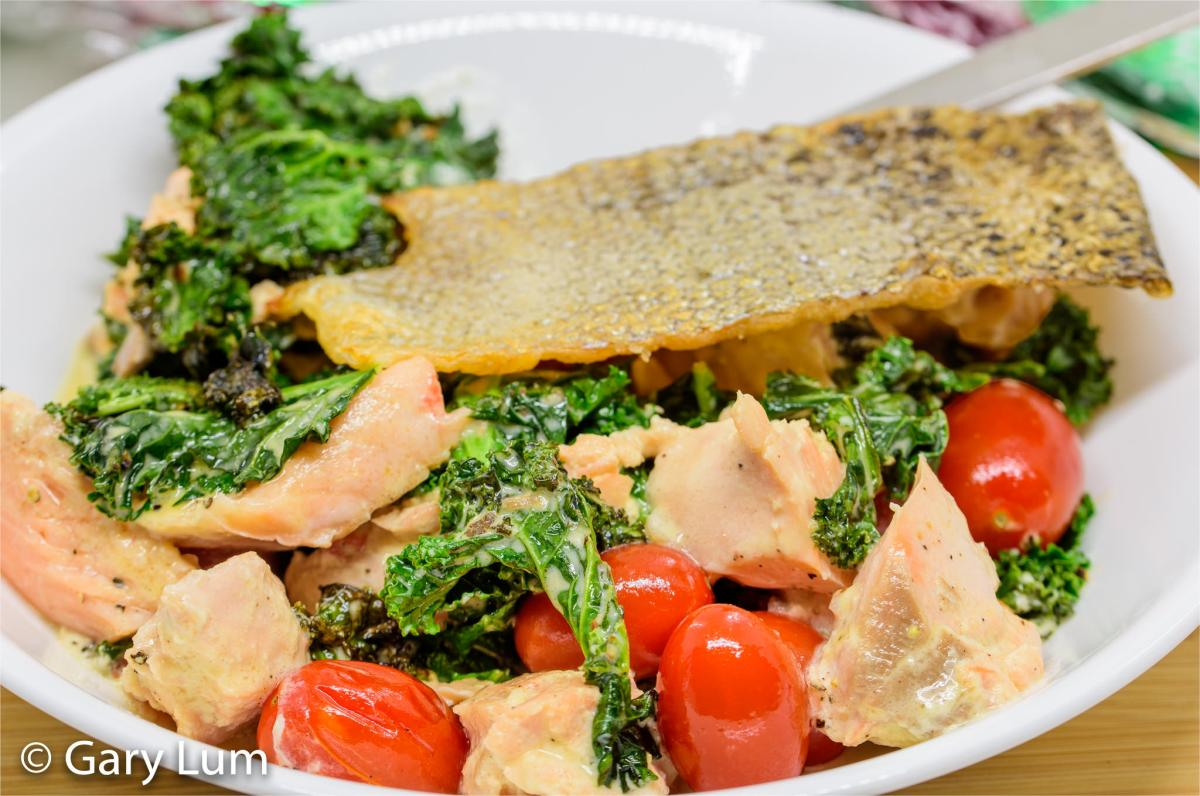 Sous vide salmon and creamed kale