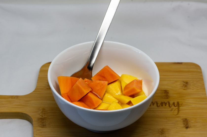 Unsweetened natural yoghurt with Kensington price mango and red pawpaw
