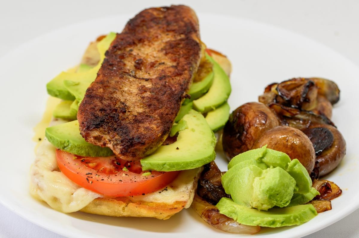 Pork sausage sandwich