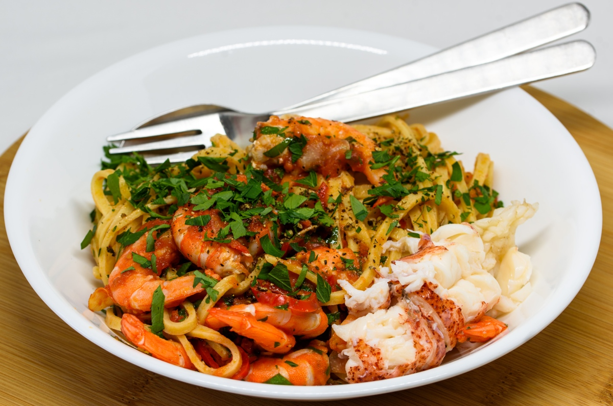 Prawns and linguine in a tomato, chilli and garlic sauce
