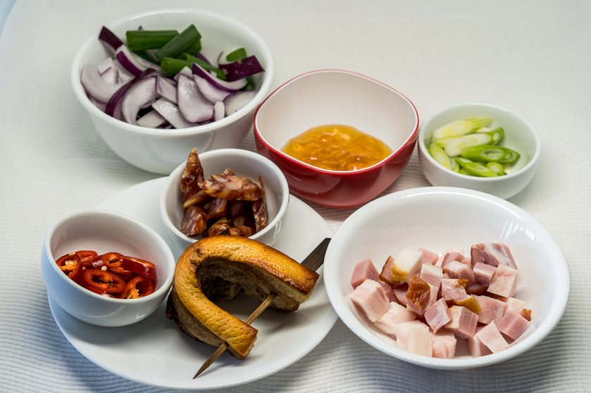 Chilli, Lup Chong, Marmalade, Pork belly, Red onion, Speck, Spring onions