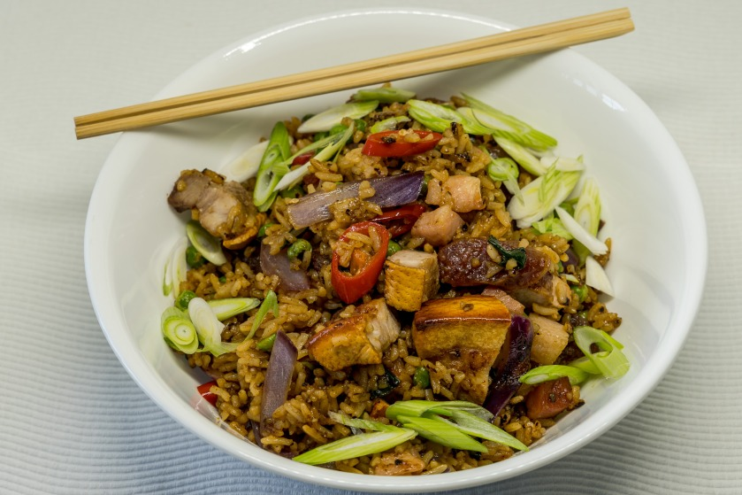Fried rice with pork three-ways