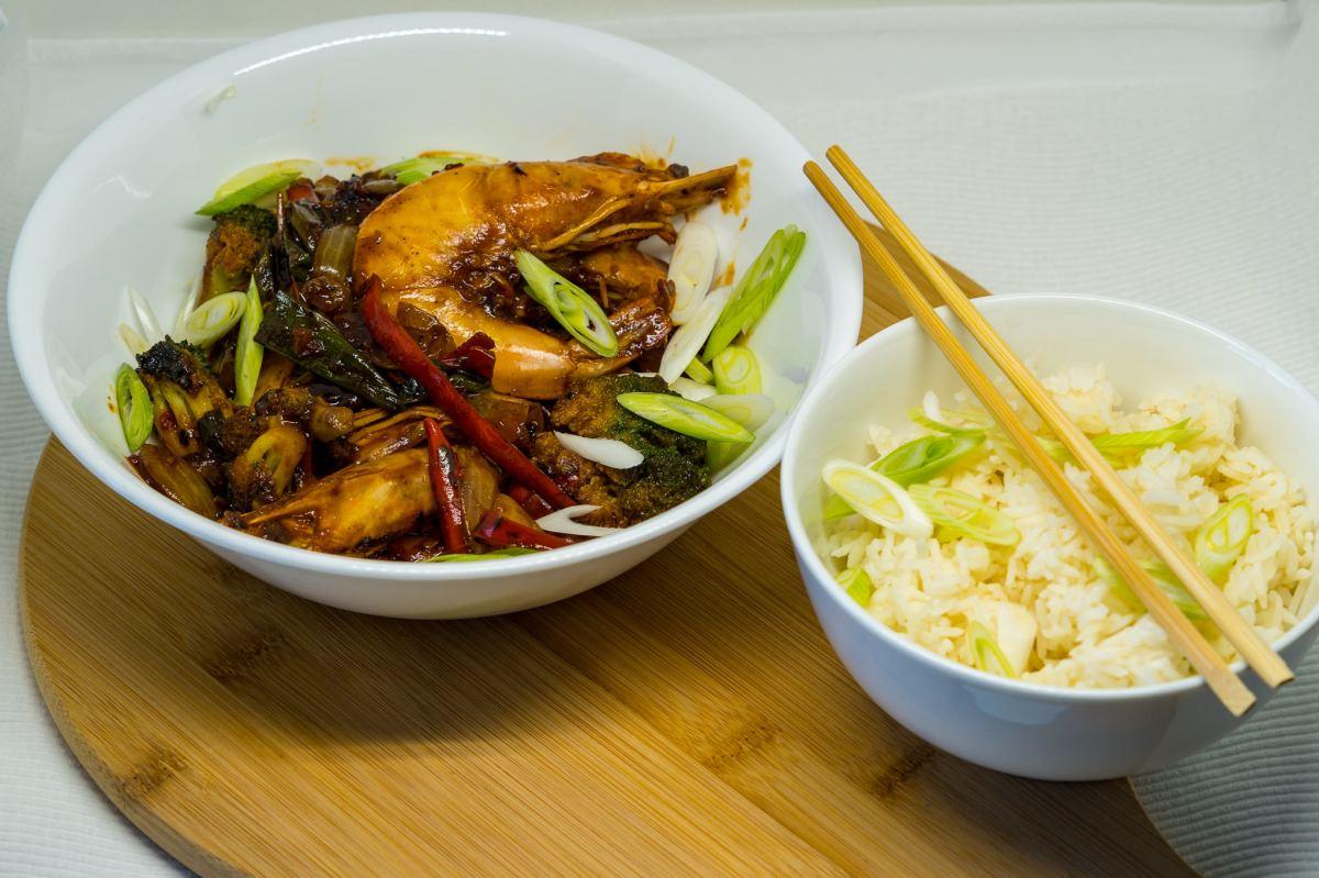 Chilli garlic prawns andrice
