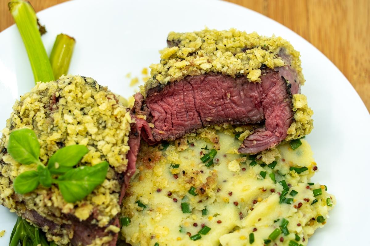 Chip crusted eye fillet steak with mustard potatomash